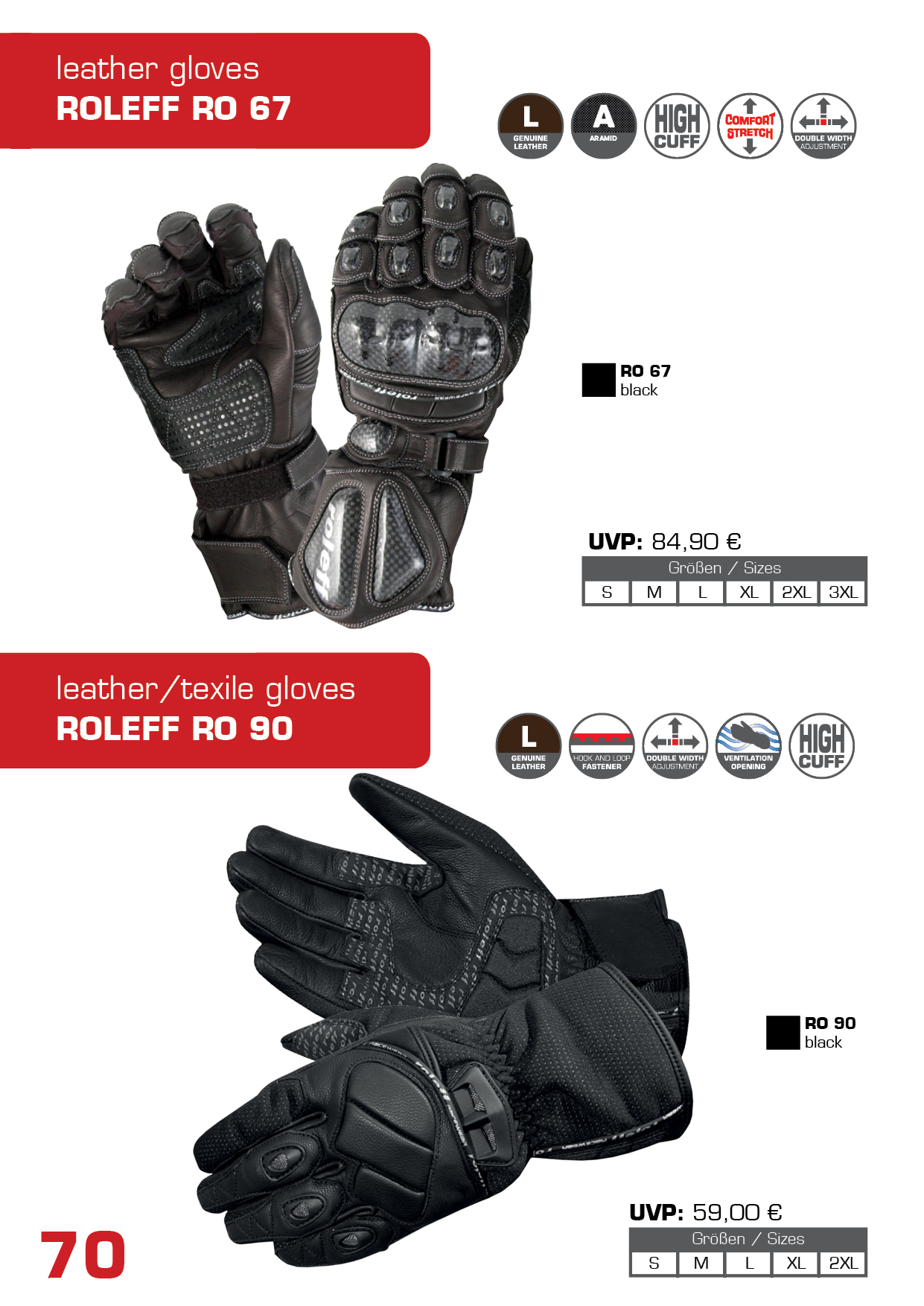 Motorcycle gloves double cuff - Roleff_katalog_2017_68